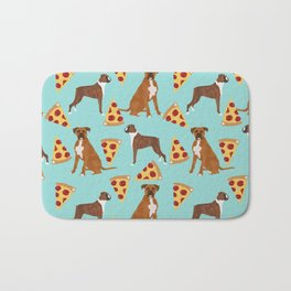Boxer dog pattern pizza dog lover pet portraits boxers dog breed by pet friendly Bath Mat