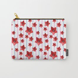 Flowers and Color Lines - Red Carry-All Pouch