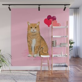 Orange Tabby ginger cats valentines day balloons hearts cat breeds must have gifts valentine's day Wall Mural