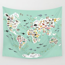 Cartoon animal world map for children and kids, back to schhool. Animals from all over the world Wall Tapestry