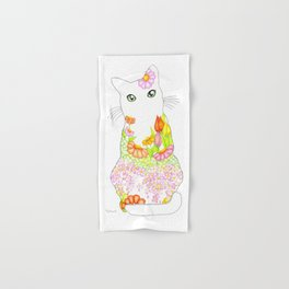 Spring Garden Kitty with the Green Eyes Hand & Bath Towel