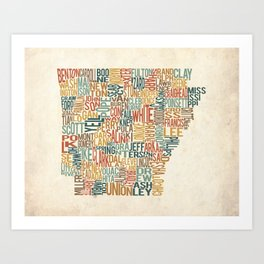 Arkansas by County Art Print