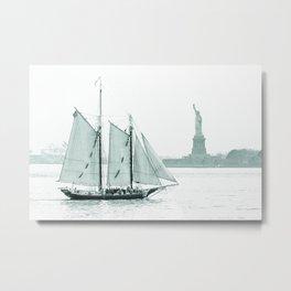 Statue of Liberty with Schooner Metal Print