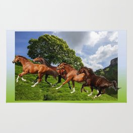 Horses on the Hill Rug