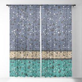 Speckled Blue Beige Emerald I Sheer Curtain