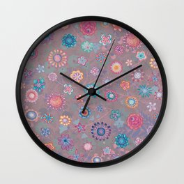 Colorful flowers pattern on pink Wall Clock