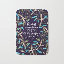 Flower of a brush touch design illustration / Blue Bath Mat