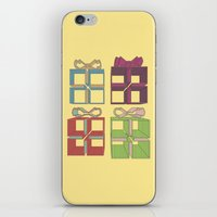 gift card iPhone & iPod Skins featuring Gift by Robert Leyen