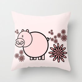 Pink pig in flowers Throw Pillow