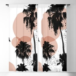 Black and White Palm Trees Blackout Curtain