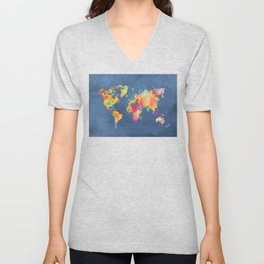 world map blue 2061 #map #worldmap Unisex V-Neck