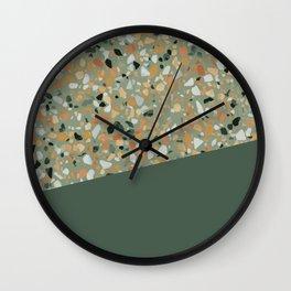 Terrazzo Texture Military Green #4 Wall Clock