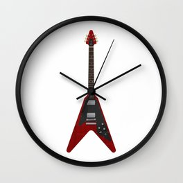 Red Electric Guitar Wall Clock