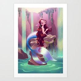 Mermaid with Comb Art Print