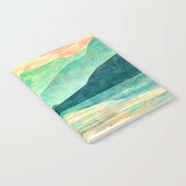 Spring Sunset over Emerald Mountain Landscape Painting Notebook