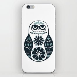 Flower Owl Matryoshka - Steel iPhone Skin