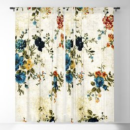 Cream Blue Yellow Floral Blackout Curtain