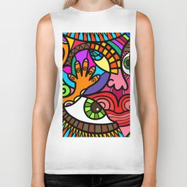 Fun Modern Abstract Face Cartoon Biker Tank