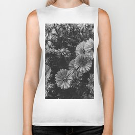 FLOWERS - FLORAL - BLACK AND WHITE Biker Tank