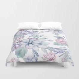 Pretty Blue Pink Succulents Garden Duvet Cover