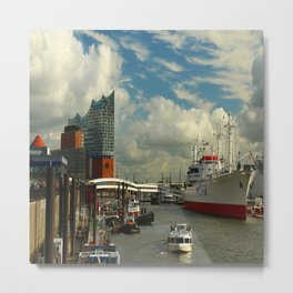 Elbharmonie With Harbor Scene Metal Print