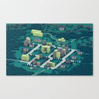 earthbound Canvas Prints featuring EarthBound - Town of Onett [Night] by Timothy J. Reynolds