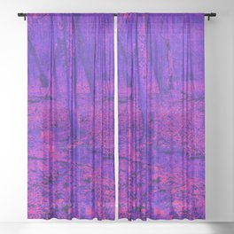 wet woods, red & blue Sheer Curtain