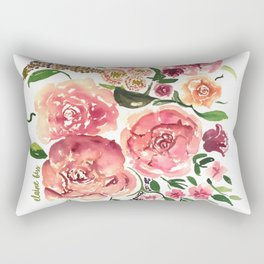 Peony Bouquet Floral Watercolor Illustration Rectangular Pillow