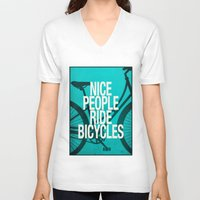 bicycles V-neck T-shirts featuring Nice People Ride Bicycles by Danny Ivan
