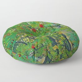 mountain ash tree berry fruits autumn leaves Floor Pillow