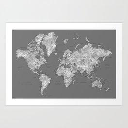 Dark gray watercolor world map with cities Art Print