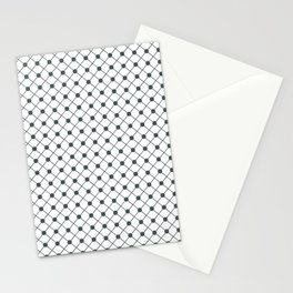 PPG Night Watch Pewter Green Thin Line Stripe Grid (Pinstripe) and Polka Dots on White Stationery Cards
