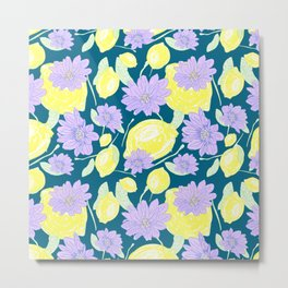 Freshy lemon fruit beautiful aroma flower pattern on green backgroung Metal Print