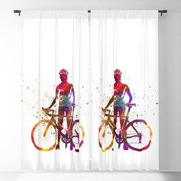 Woman triathlon cycling 02 Blackout Curtain