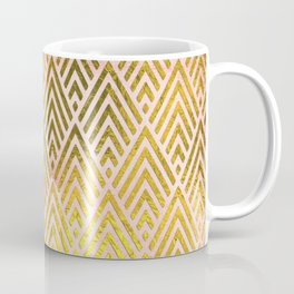 Gold foil triangles on pink - Elegant and luxury triangle pattern Coffee Mug