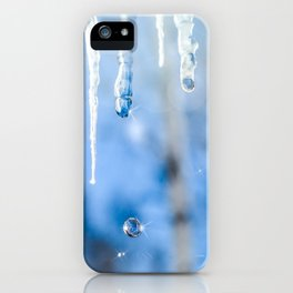 Icicles and drops in a birch grove iPhone Case