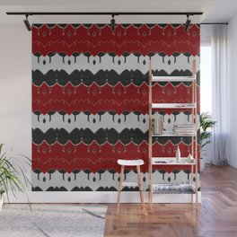 Geometric Arabian Style Red -White- Black Pattern with abstact stripes Wall Mural