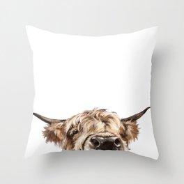 Peeking Highland Cow Throw Pillow