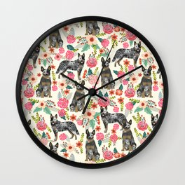 Australian cattle dog floral dog breed cream pet pattern custom gifts for dog lovers Wall Clock