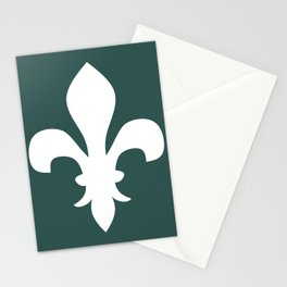 Fleur de Lis (White & Dark Green) Stationery Cards