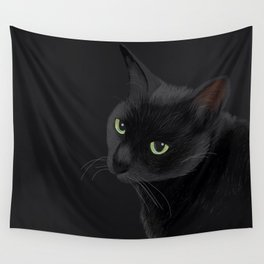 Black cat in the dark Wall Tapestry