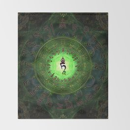 Green Tara Mantra- Protection from dangers and suffering Throw Blanket