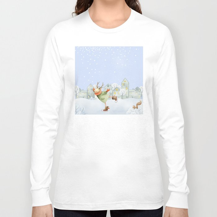Merry christmas- Ice skating Deer and squirrel are having Winter fun Long Sleeve T-shirt
