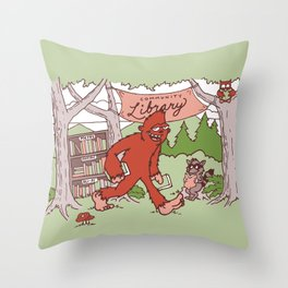 Community Library (Sasquatch) Throw Pillow