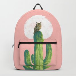 Quirky owl on saguaro cactus Backpack
