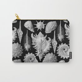 Black and White Beach Shells Carry-All Pouch