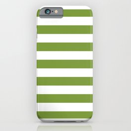 Green and White Stripes iPhone Case