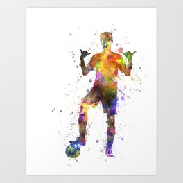 brazilian soccer football player young man saluting  silhouette Art Print