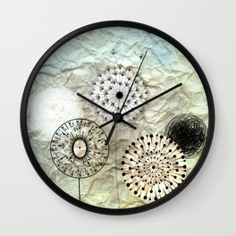 dandelions on the wrinkled paper Wall Clock