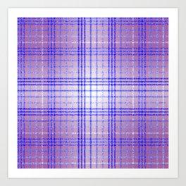 Thin Blue and Purple Speckled Tartan Pattern Art Print